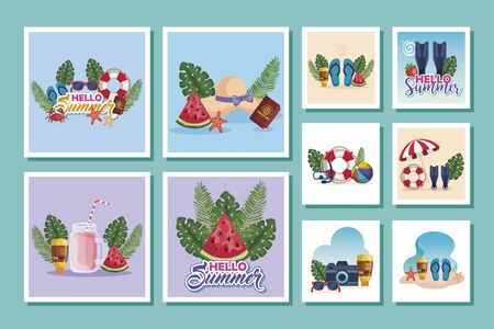 bundle of summer scenes with icons vector illustration design