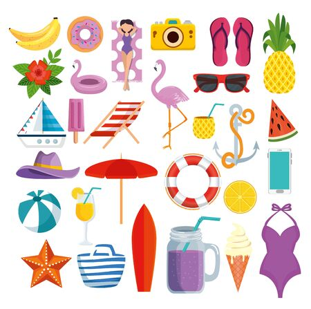 set of summer time with tropical fruits and exotic vacation vector illustration