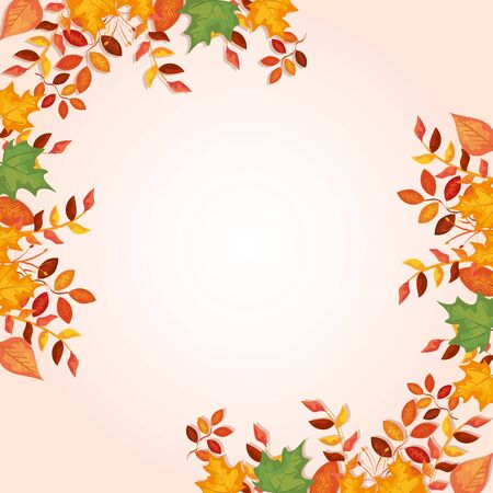 frame decoration of leafs autumn vector illustration design