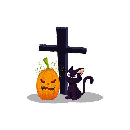 cat with pumpkin halloween and cross vector illustration design