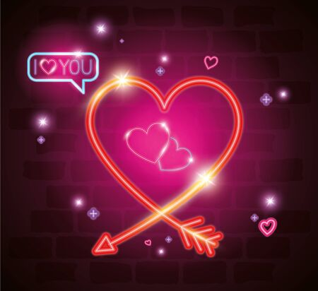 heart with i love you lettering in neon light, valentine day vector illustration design