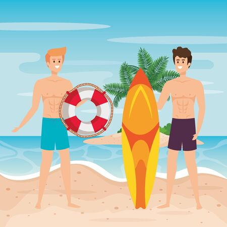 men wearing bathing shorts with float and surfboard to summer time vector illustration