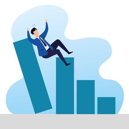 stock market crash with businessman and infographics vector illustration design