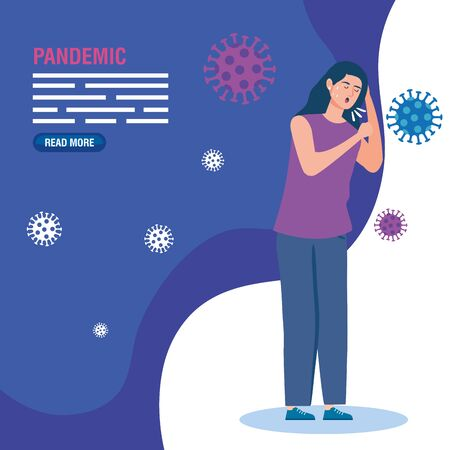 sick woman of pandemic coronavirus 2019 vector illustration design