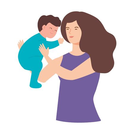 mother lifting baby boy avatar character vector illustration design