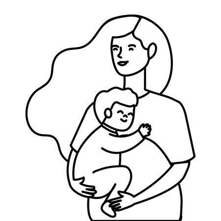 cute woman pregnant carrying baby boy vector illustration design