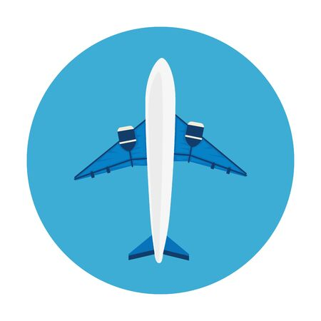 airplane flying in frame circular isolated icon vector illustration design