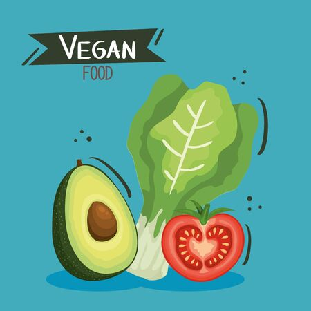 vegan food poster with avocado and vegetables vector illustration design
