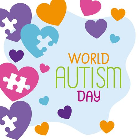 world autism day with hearts and puzzle pieces vector illustration design