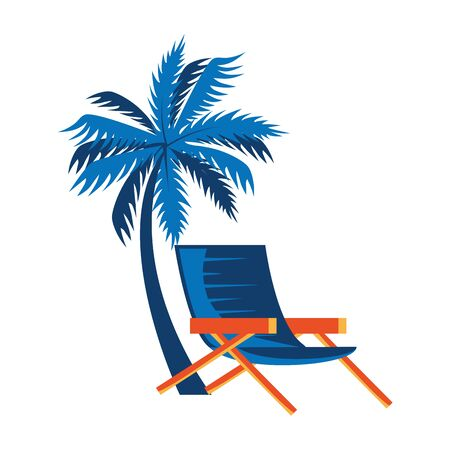summer chair with tree palm isolated icon vector illustration design