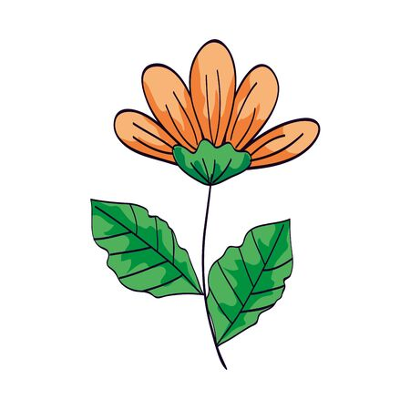 cute flower yellow color with branch and leafs isolated icon vector illustration design