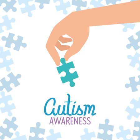 world autism day with hand and puzzle pieces vector illustration design