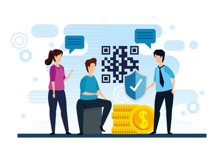people with code qr and icons vector illustration design