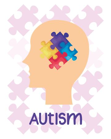 world autism day with head profile and puzzle pieces vector illustration design