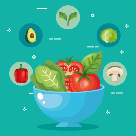 bowl with healthy and fresh vegetables vector illustration design