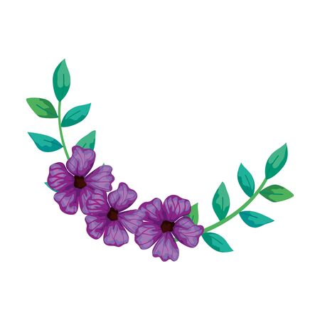 cute flowers purple with branches and leafs isolated icon vector illustration design