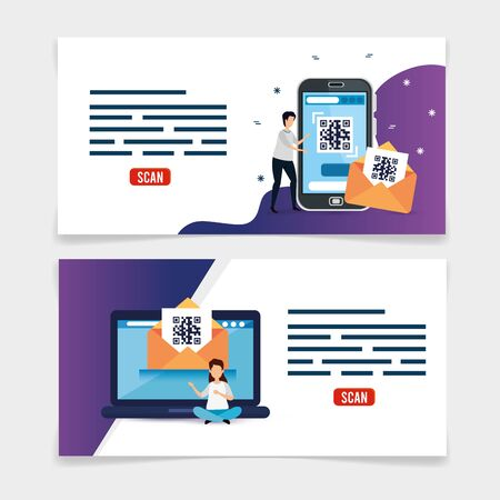 set poster of code qr and icons vector illustration design