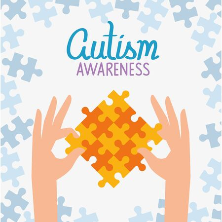 world autism day with hands and puzzle pieces vector illustration design  イラスト・ベクター素材
