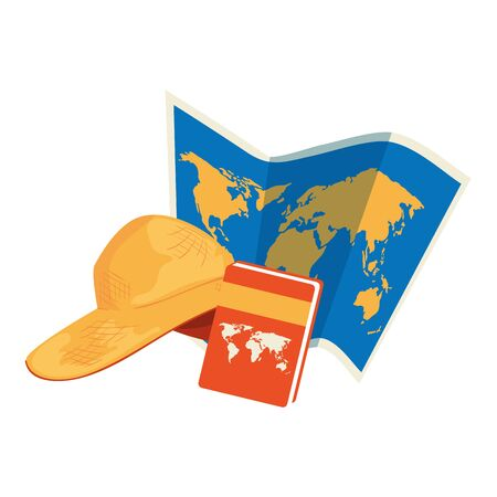 paper map with atlas book and hat female vector illustration design
