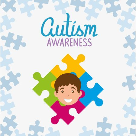 world autism day with face of boy and puzzle pieces vector illustration design