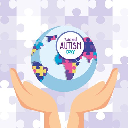 world autism day and world planet with hands vector illustration design