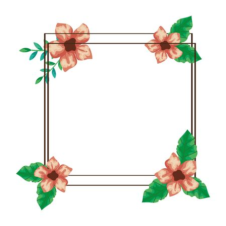 square frame of cute flowers with branches and leafs vector illustration design