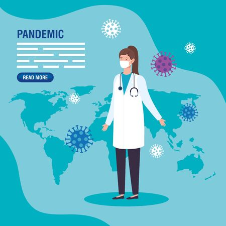 pandemic coronavirus 2019 with doctor female vector illustration design
