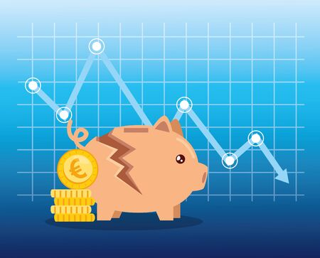 stock market crash with piggy bank and icons vector illustration design