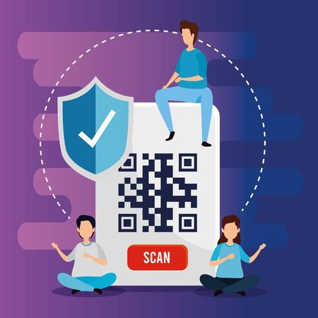 group people with code qr and icons vector illustration design