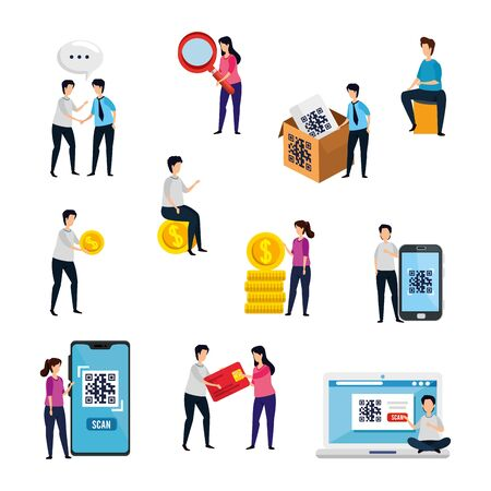 scenes of people with code qr and icons vector illustration design