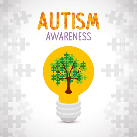world autism day with tree of puzzle pieces in light bulb vector illustration design