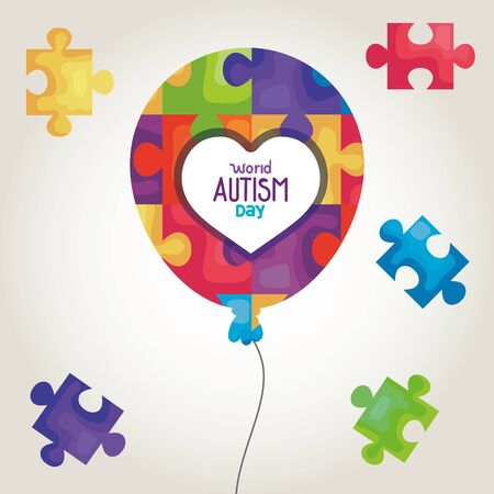 world autism day with balloon helium and puzzle pieces vector illustration design