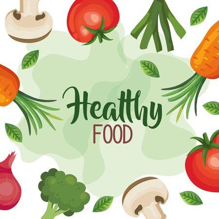 healthy food poster with frame of vegetables vector illustration design Ilustración de vector