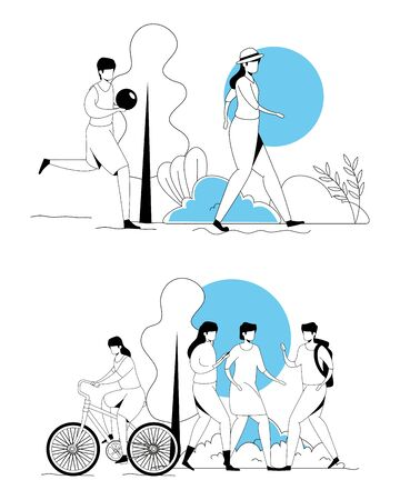 set scenes of people doing activities vector illustration design