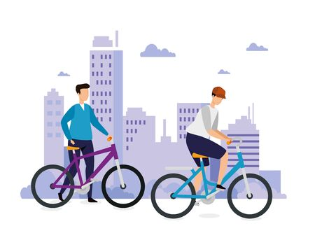buildings urban scene with men in bikes vector illustration design