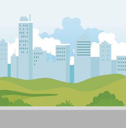 buildings urban scene with street vector illustration design