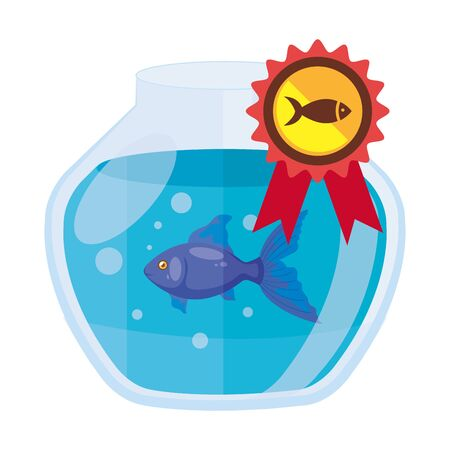 round glass fish bowl with stamp isolated icon vector illustration design Archivio Fotografico - 142509581