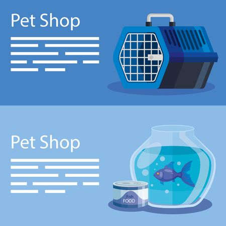 set poster of pet shop and icons vector illustration design Archivio Fotografico - 142507443