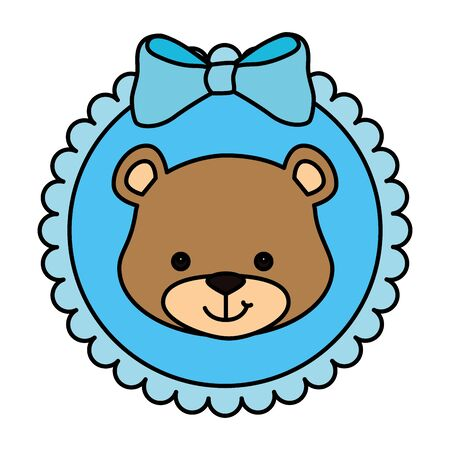 face of cute teddy bear in lace frame vector illustration design
