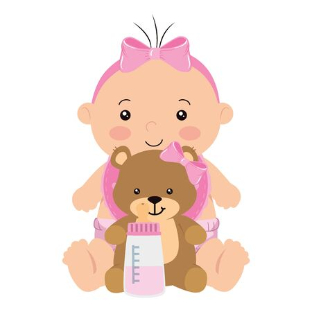 cute little baby girl with teddy bear and bottle milk vector illustration design