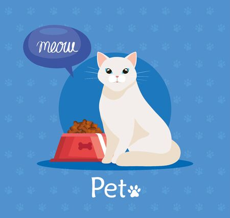 cute cat with dish food in background of pawprints vector illustration design