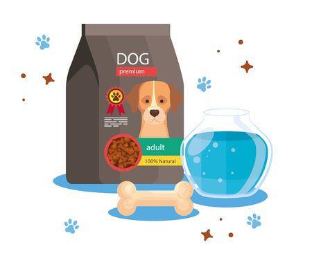 food for dog in bag with round glass fish bowl and bone vector illustration design Archivio Fotografico - 142551493
