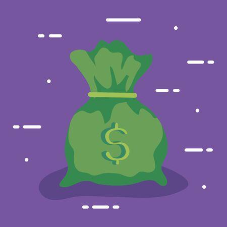 money bag cash in purple background vector illustration design