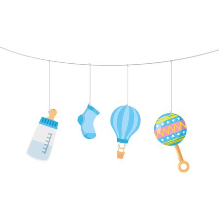 cute icons of baby hanging vector illustration design