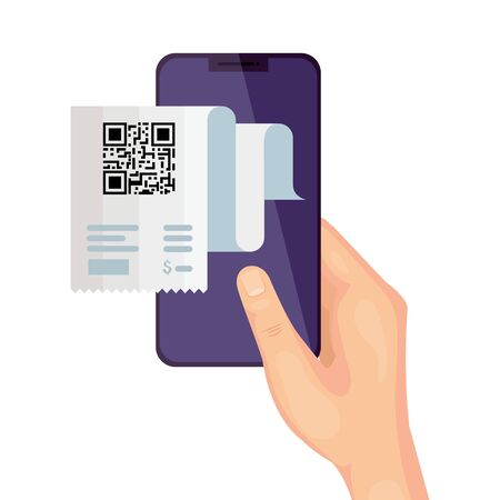qr code paper and hand holding smartphone design of technology scan information business price communication barcode digital and data theme Vector illustration