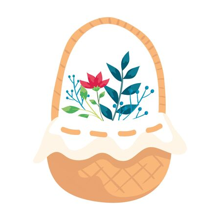cute flower in basket wicker isolated icon vector illustration design