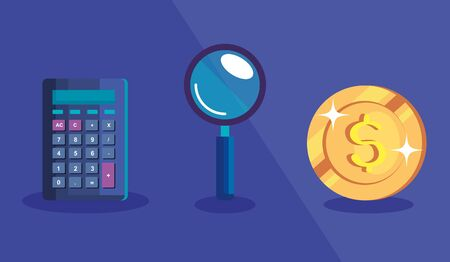 calculator with magnifying glass and coin vector illustration design