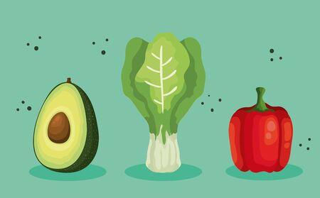 set of fresh and healthy vegetables vector illustration design