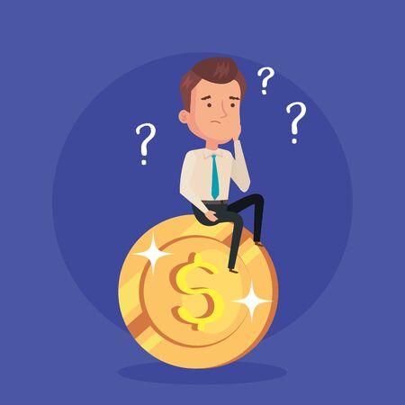 businessman thinking sitting in coin vector illustration design