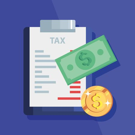 document of tax paid with cash vector illustration design